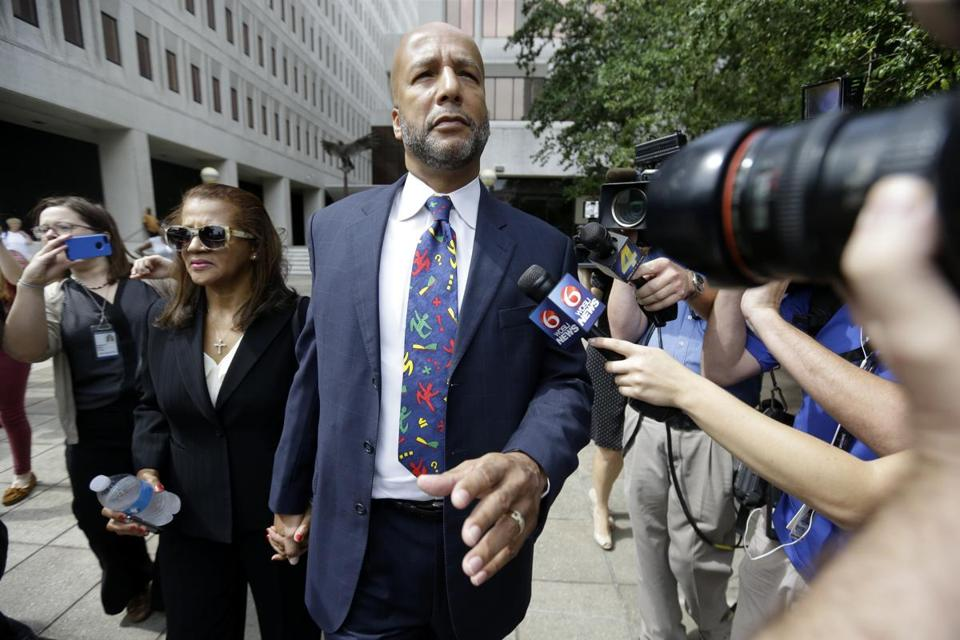 Ray Nagin was convicted of bribery, money laundering, fraud, and tax violations. His wife, Seletha, was at left.