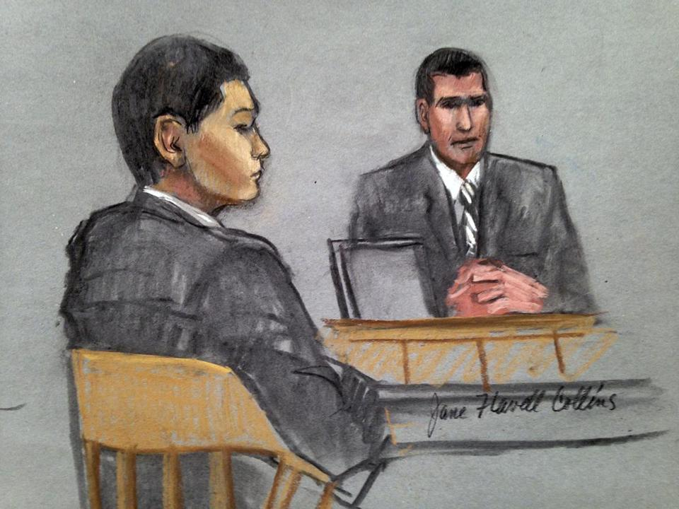 Azamat Tazhayakov (left) is depicted listening to testimony on Monday.