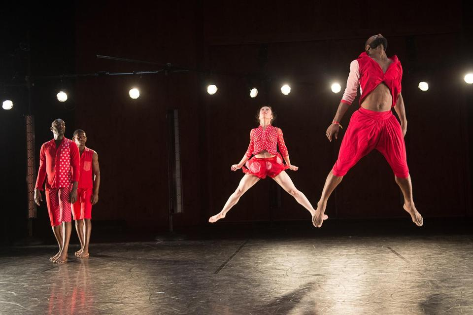 "Dwayne Brown, Yeman Brown, Anna Schon, and Clement Mensah of Reggie Wilson/Fist & Heel Performance Group in ""Moses(es)."""