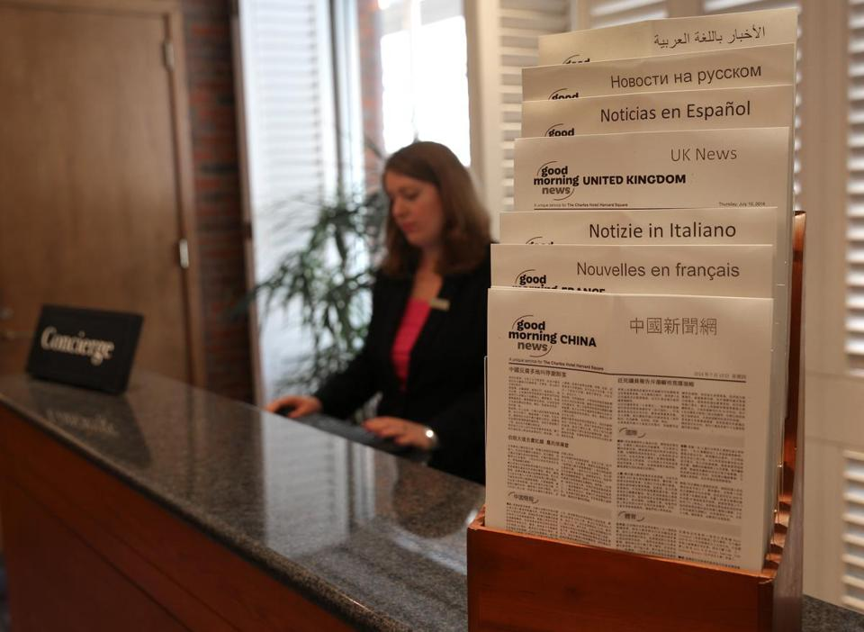 The concierge desk in the lobby of the Charles Hotel offers news in several languages for international travelers. The hotel also prepares rooms accordingly for international guests, and its restaurant has added vegetarian options.