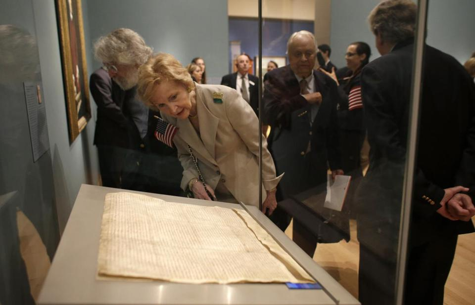 One of only four surviving copies of the original 1215 document is on loan to the MFA from the Lincoln Cathedral in the United Kingdom.