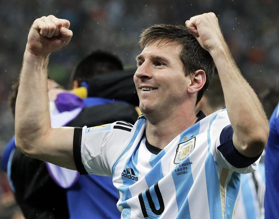 Argentina's Lionel Messi celebrated after the win.