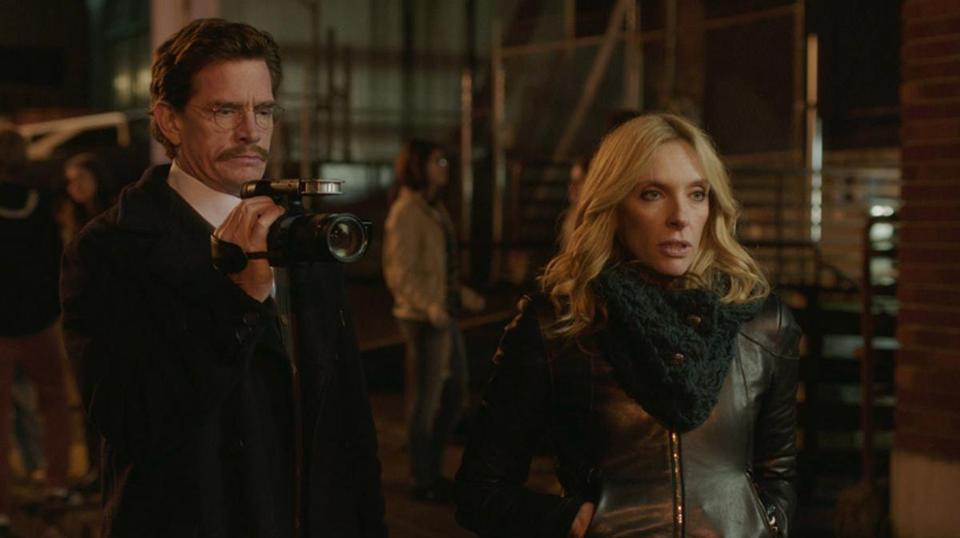 "Toni Collette (with Thomas Haden Church) plays a rock music critic and Ryan Eggold is a young musician in ""Lucky Them."""
