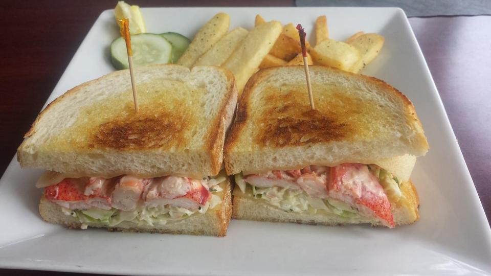 Lobster Reuben at Brodie's Seaport in Salem, packed with lobster, slaw, and swiss cheese.