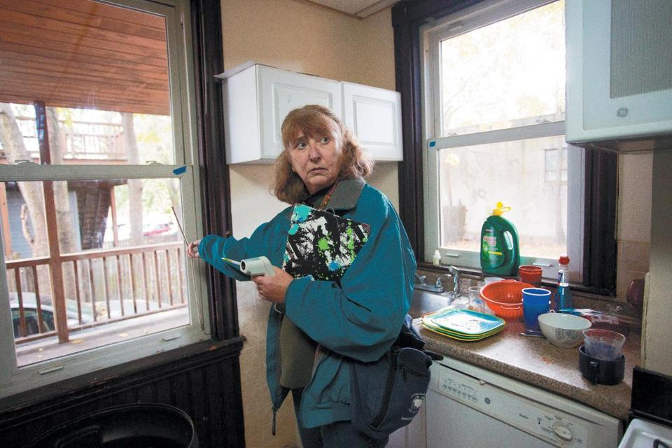 Housing inspector Rosemary Decie, hired by the Globe Spotlight team, found faulty window seals in the kitchen and a dead rodent in the basement, among other violations, at 85 Linden St.