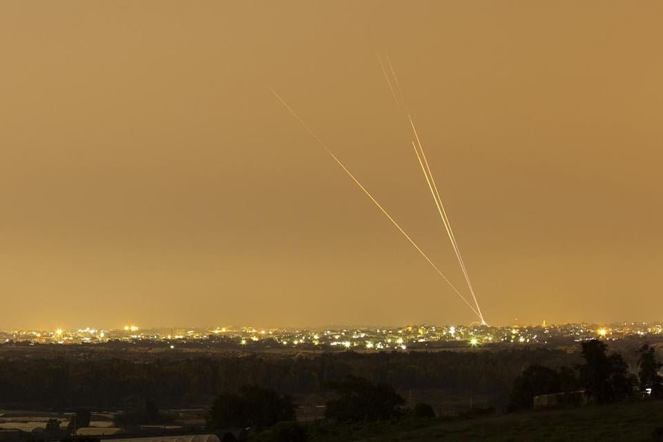 Smoke was visible after rockets were launched toward Israel from the northern Gaza Strip.