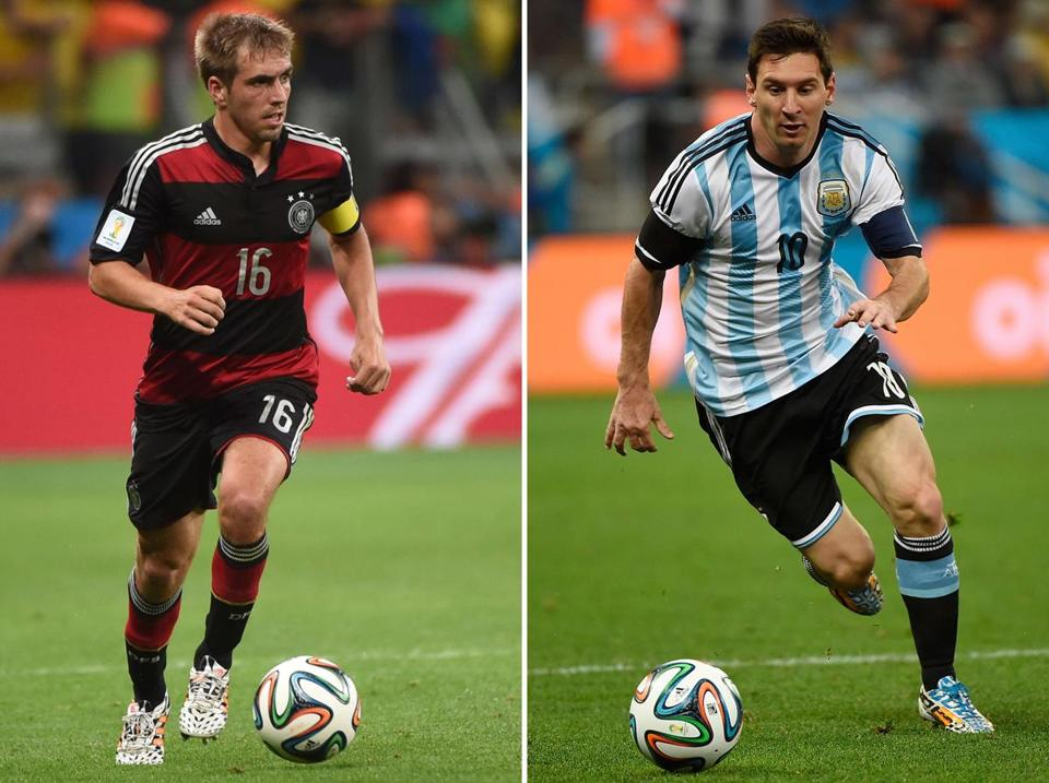 As the winning captain, either Argentina forward Lionel Messi (right) or Germany defender Philipp Lahm will hold aloft the most recognized trophy in sports in front of 74,000 spectators at the Maracana Stadium.