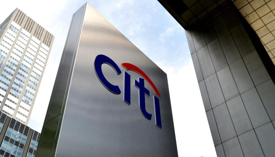 A view of Citigroup logo at the offices in New York City.