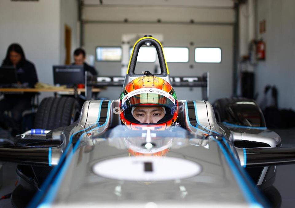 Ho-Pin Tung sat in a Formula E race car for a test. Backers hope the races will enhance electric-vehicle technology.