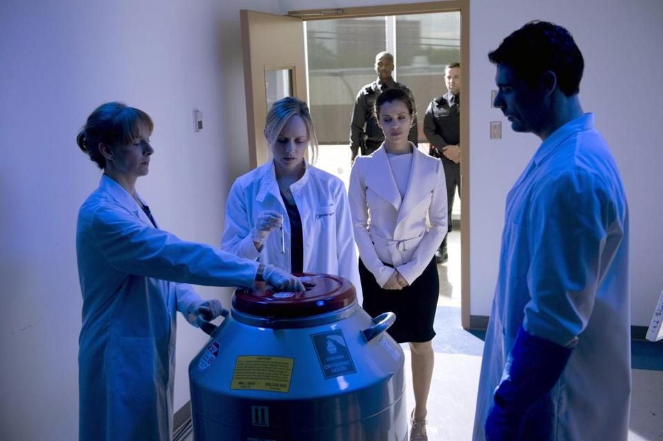 "Marley Shelton (second from left) plays the head of a fertility laboratory in Lifetime's new series ""The Lottery.''"