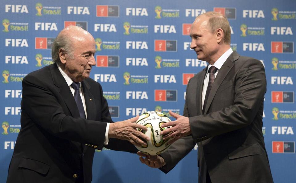 Russian President Vladimir Putin (right) and FIFA President Sepp Blatter took part in the official hand over ceremony for the 2018 World Cup scheduled to take place in Russia.