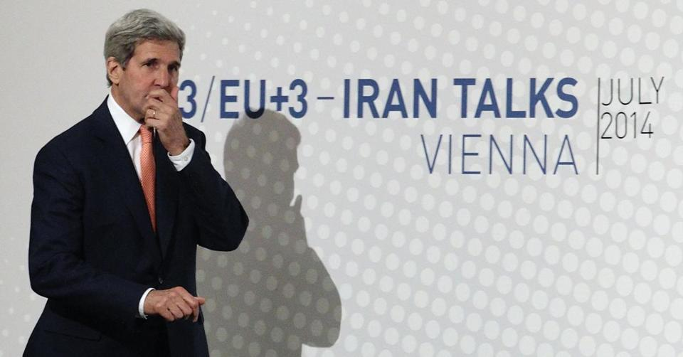 Secretary of State John Kerry arrived for a news conference in Vienna on Tuesday.