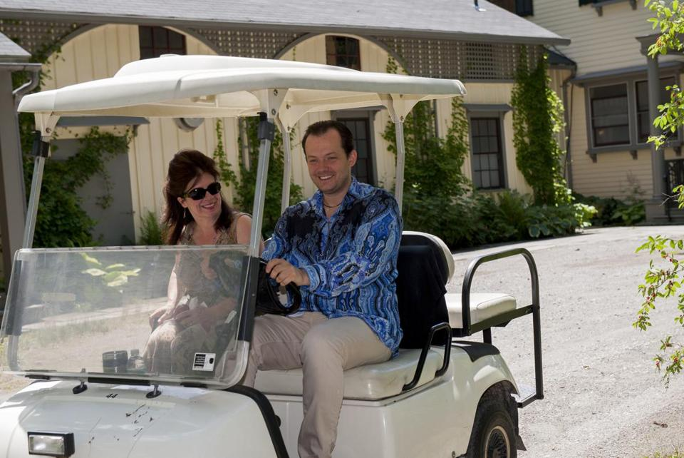 BSO music director designate Andris Nelsons, with the BSO's Bernadette Horgan, showed a playful streak at Tanglewood.