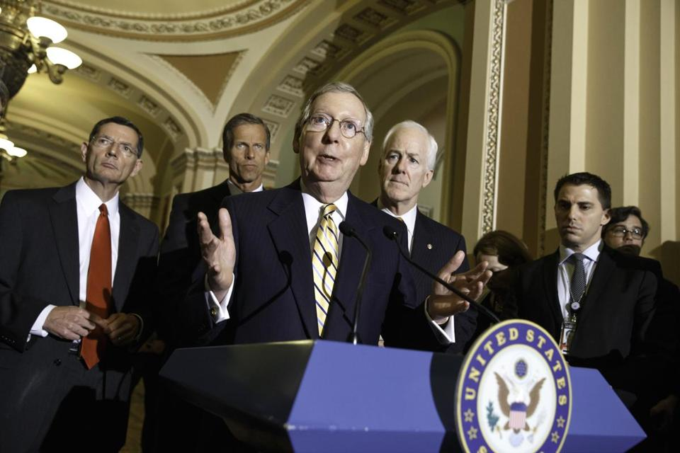 "Senate Minority Leader Mitch McConnell, R-Ky., said Democrats ""think they can score political points and create divisions where there aren't any by distorting the facts."""