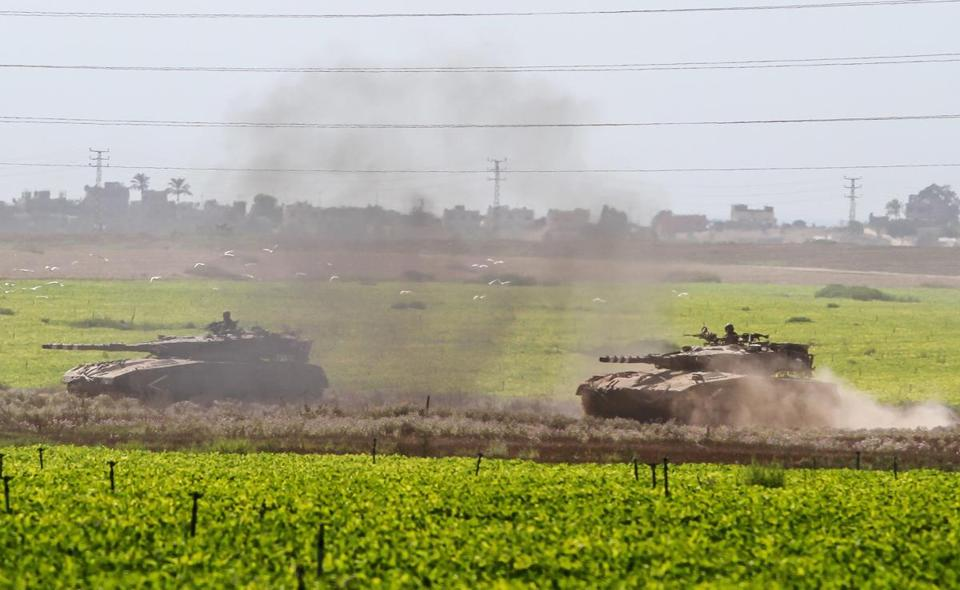 Israeli tanks headed toward the Gaza border.