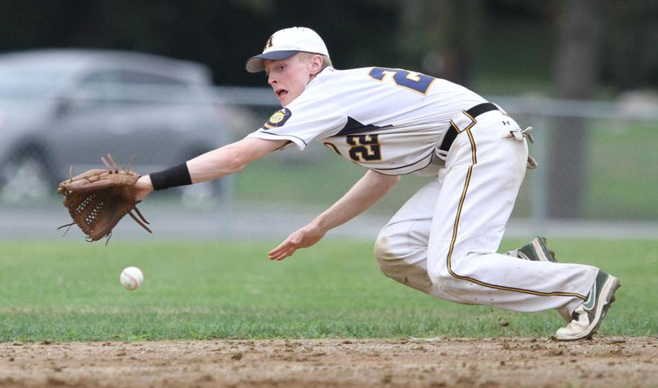 Andover Post 88's Scott Allan goes for a line drive in a game against Haverhill.