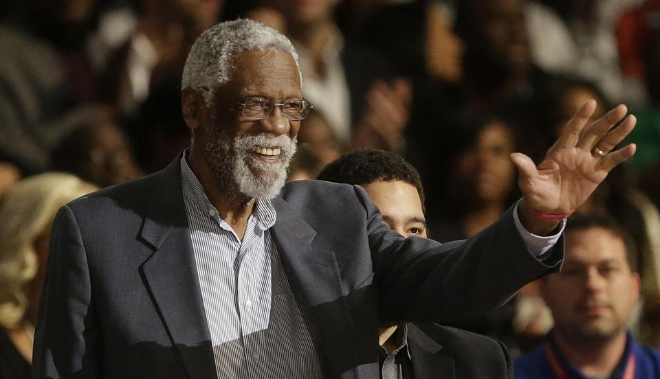Celtics legend Bill Russell made his first public appearance since a July 17 fall during a speaking engagement. (AP Photo/Gerald Herbert)