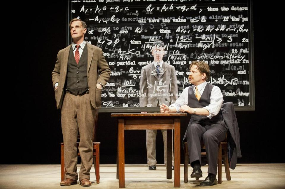Mark H. Dold (left, with Kyle Fabel and John Leonard Thompson) as Alan Turing.