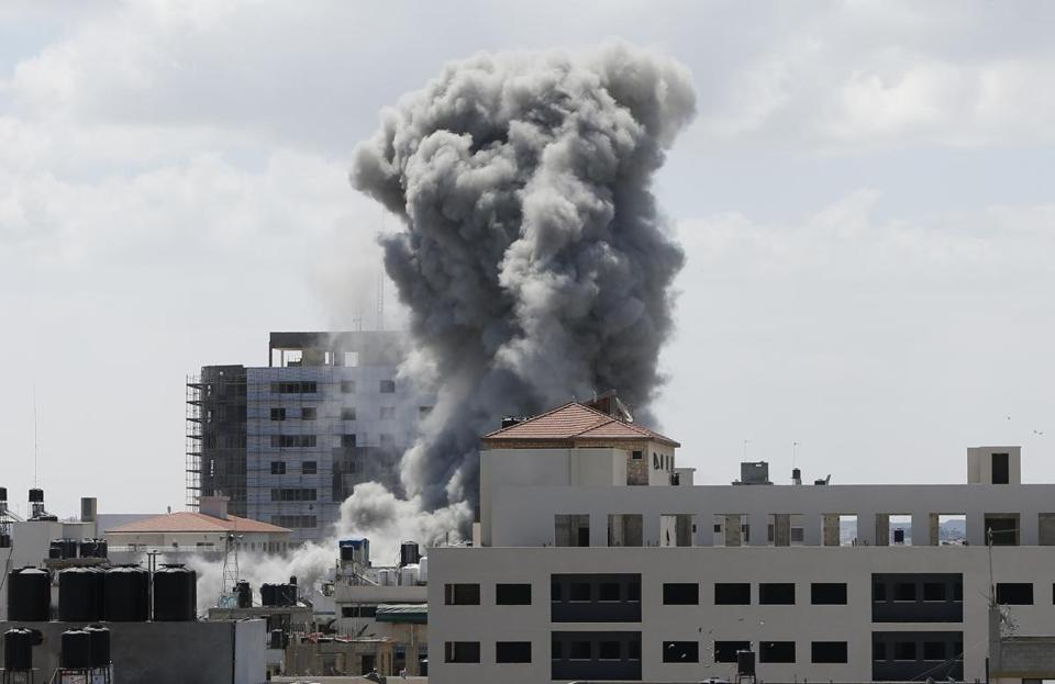 Smoke rose in Gaza City on Friday following what witnesses said was an Israeli airstrike.
