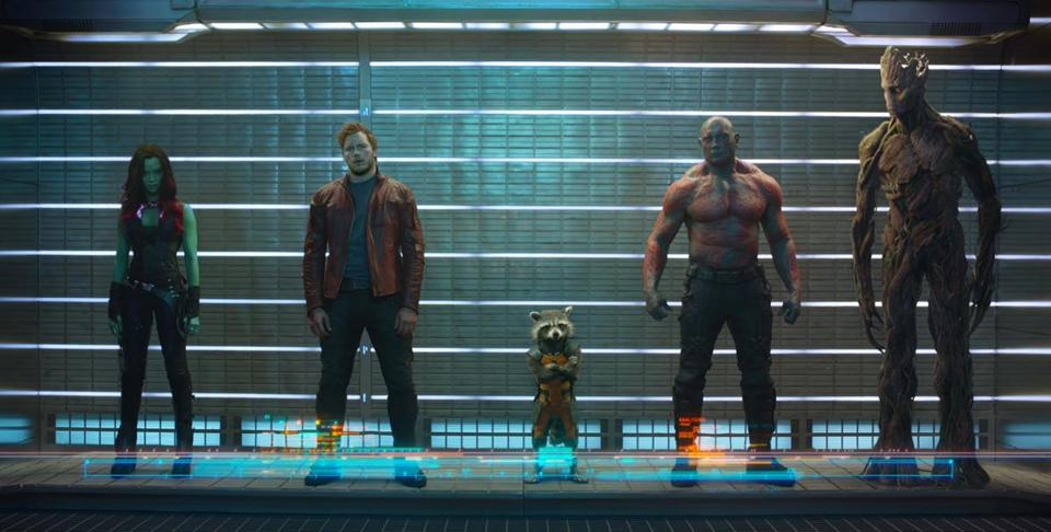 From left: Zoe Saldana as Gamora, Chris Pratt as Peter Quill/Star-Lord, Rocket (voiced by Bradley Cooper), Dave Bautista as Drax, and Groot (voiced by Vin Diesel).