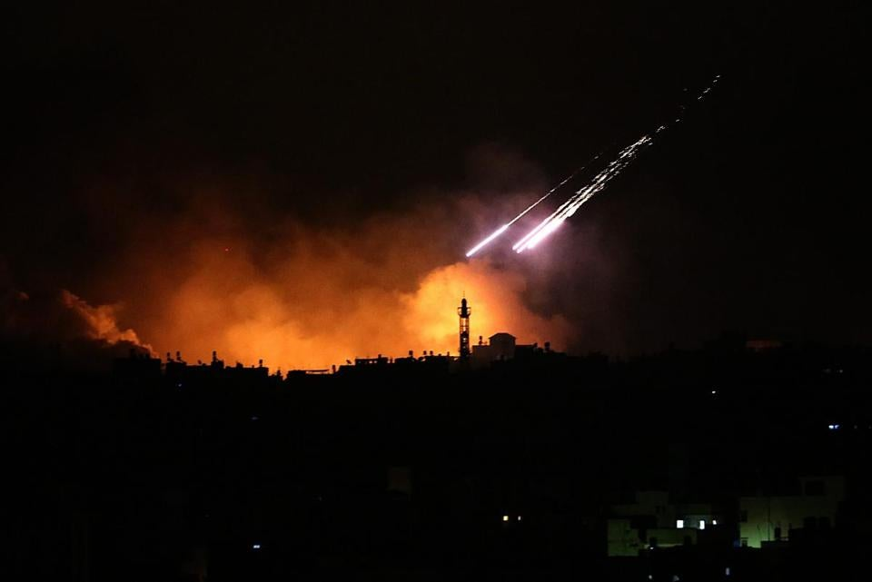 Israeli strikes are seen in the east of the Gaza Strip along the border.
