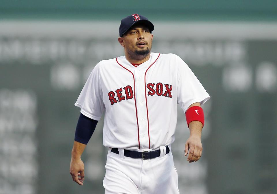 Shane Victorino warms up before Saturday night's game against the Royals, his return to the Red Sox lineup. Michael Dwyer/Associated Press