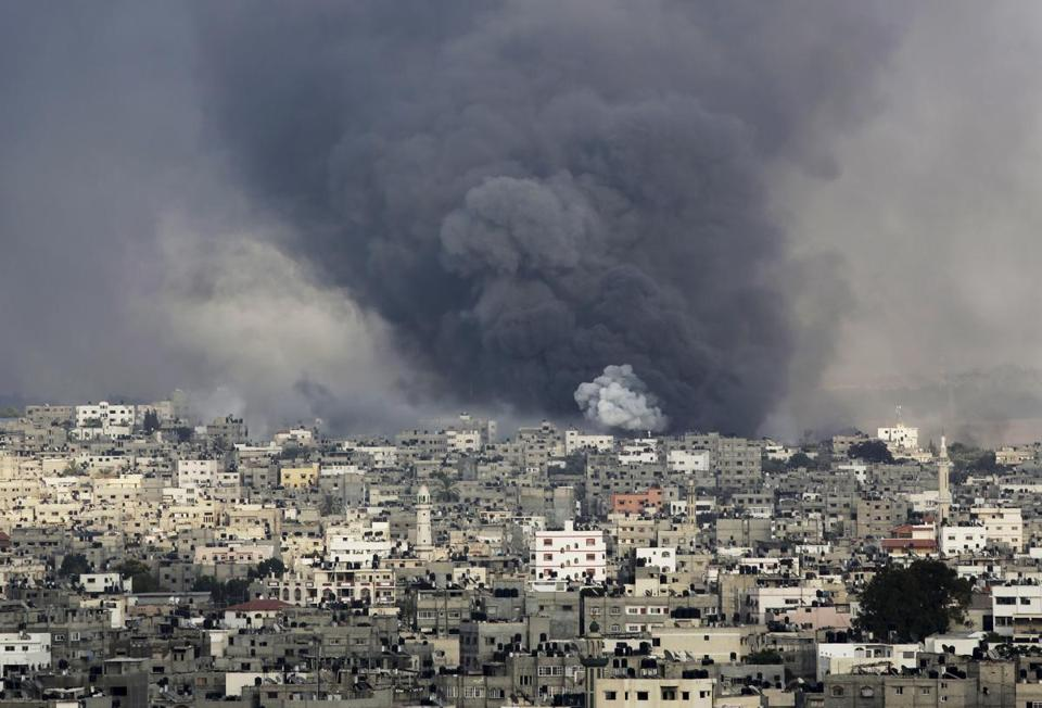 Smoke rose from the Shijaiyah neighborhood of Gaza after an Israeli strike.