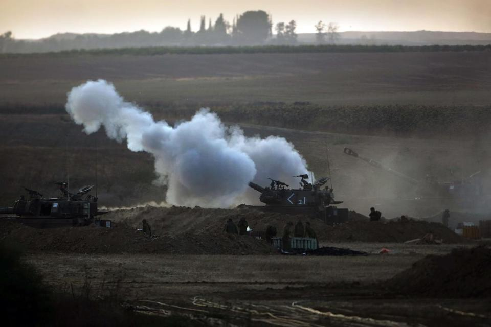 Israeli soldiers fired toward the Gaza Strip from their position near the border.