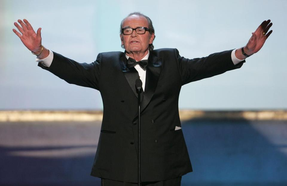 James Garner held his arms out at the 11th annual Screen Actors Guild awards in 2005.