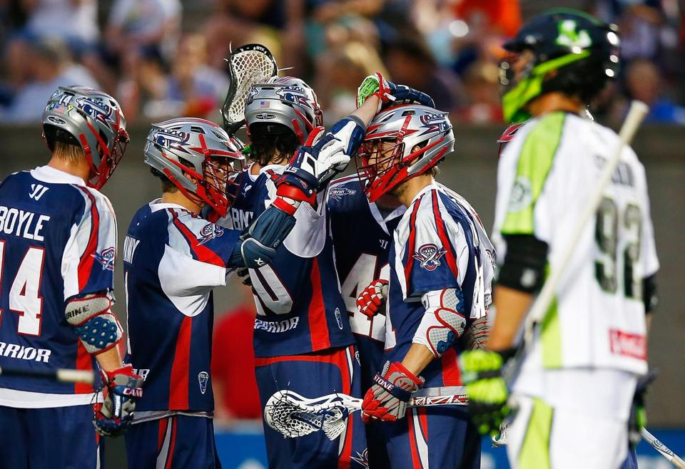 The Cannons' Mike Stone (41) was congratulated by teammates after scoring in the second half.