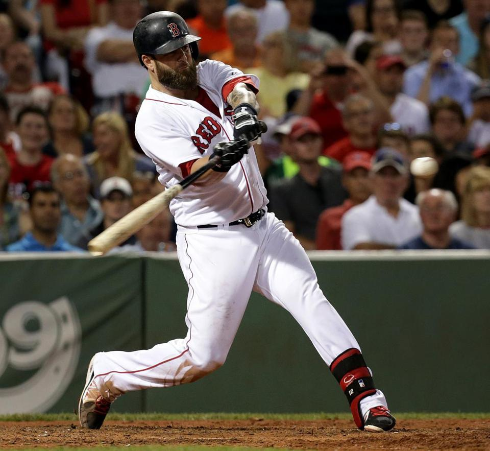 Mike Napoli's home run in the sixth inning provided the winning margin for the Red Sox. (Barry Chin/Globe Staff)
