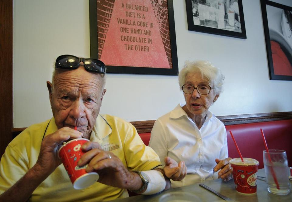 Friendly's co-founder Prestley Blake, 99, sips on a fribble during an outing to the chain with his wife Helen.