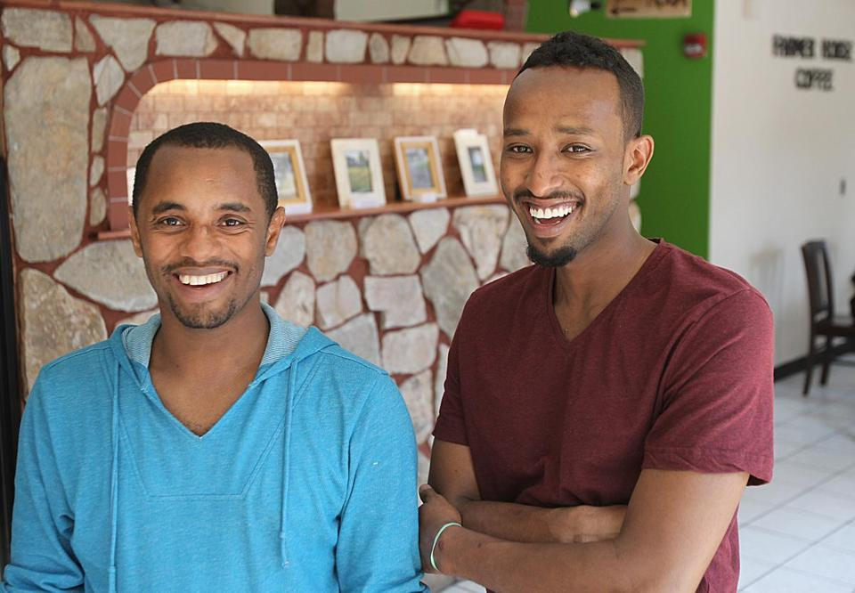 Boston, MA., 07/18/14, Owners Kassegn Sirmollo, and Mo Farah, cq. For Short Order,a profile of Farmer Horse Coffee. Suzanne Kreiter/Globe staff (The Boston Globe.
