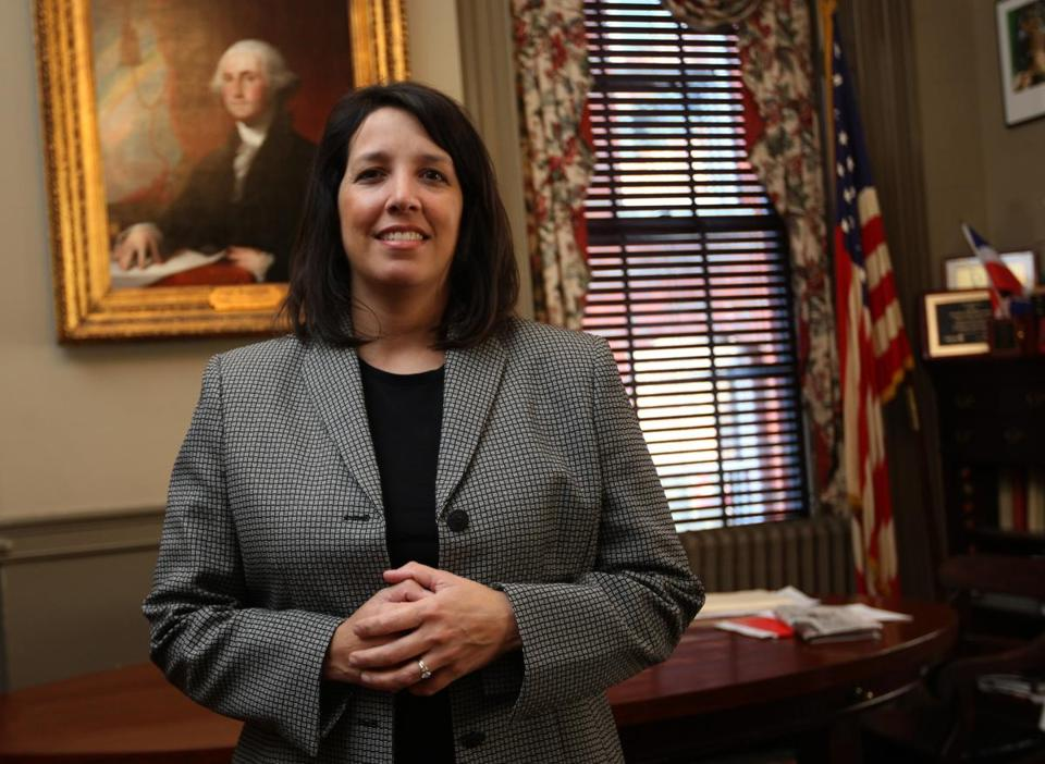 Mayor Kim Driscoll is shown in her office at Salem City Hall.