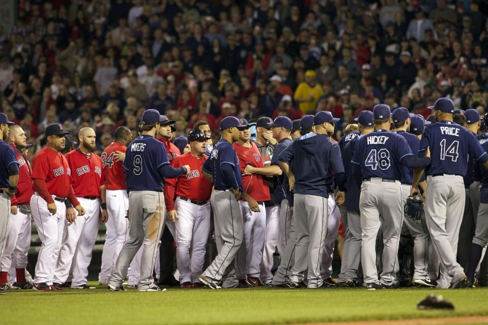 The last two series between the Red Sox and Rays have included a bench-clearing incident, including on May 30 at Fenway Park.