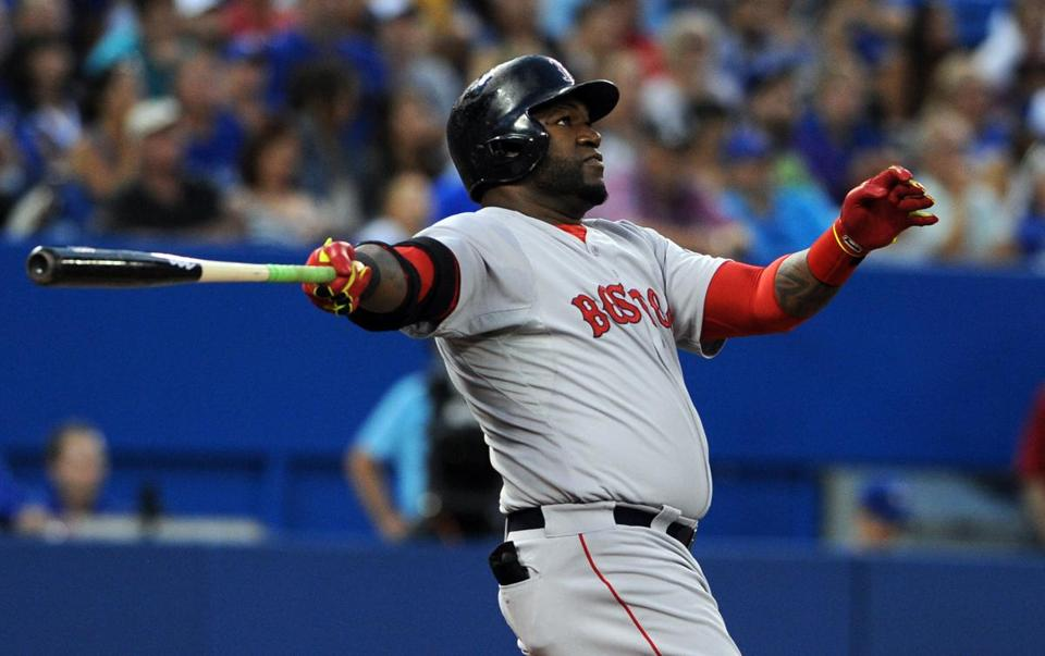 David Ortiz watched his second two-run home Monday against the Blue Jays.