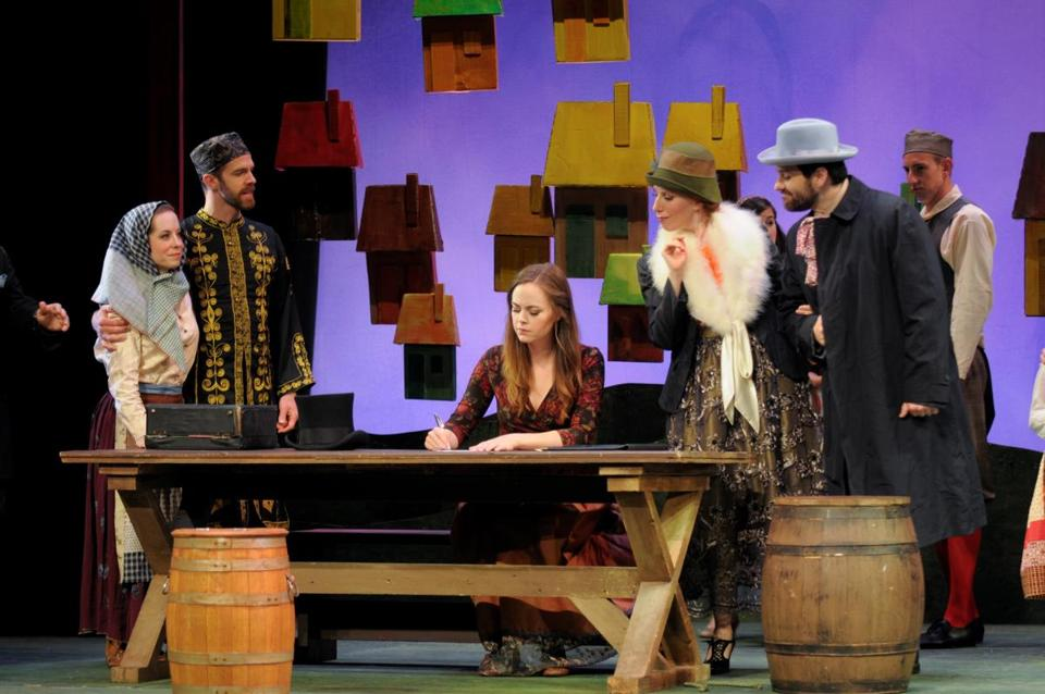 "Nicole Percifield (center) is Marenka in ""The Bartered Bride,"" presented by Boston Midsummer Opera."