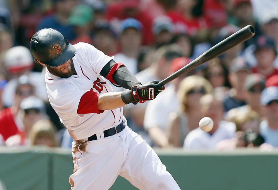 Dustin Pedroia's slugging percentage has dropped every season since he was at .493 in 2010. (AP Photo/Michael Dwyer)