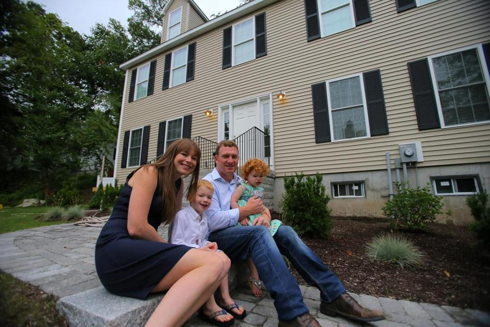 Michael and Thia Philbin, with their children Mikey and Kinley, got a jumbo loan to buy their home in Wayland.