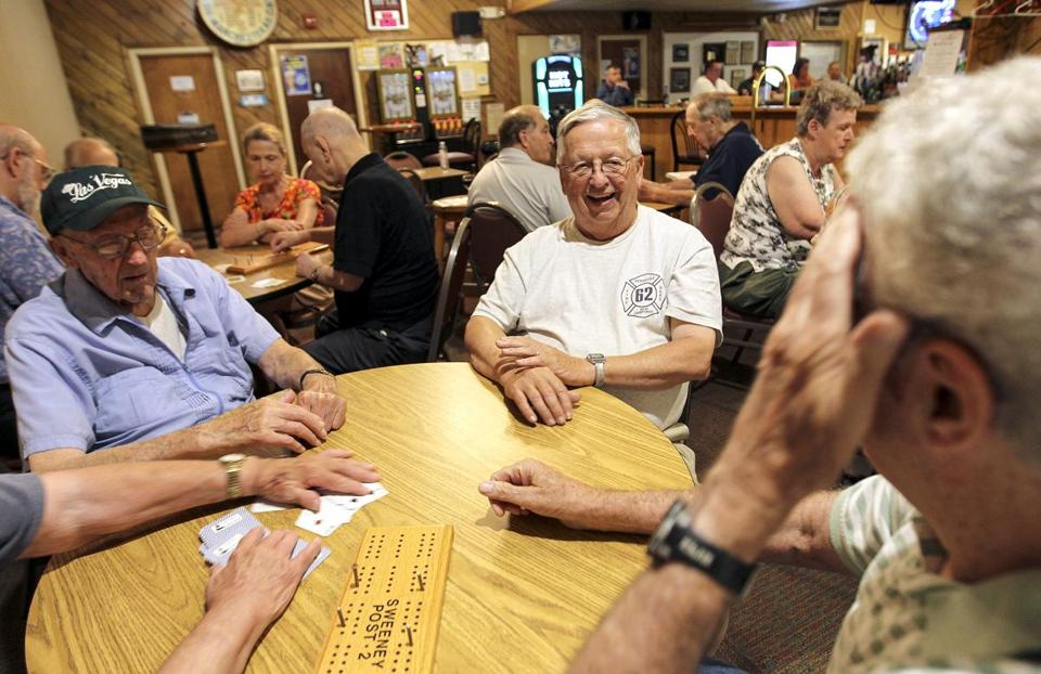 Chet Martel (center) of Pembroke, N.H., played cribbage with fellow veterans at the American Legion Henry J. Sweeney Post 2 in Manchester, N.H.