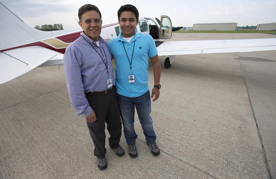 Haris Suleman, at right with his father, was trying to set an around-the-world record.