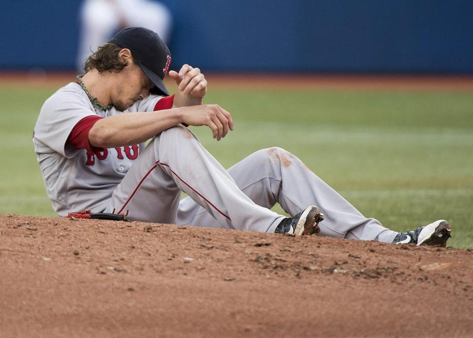 Clay Buchholz was hit by a ball in the first inning.