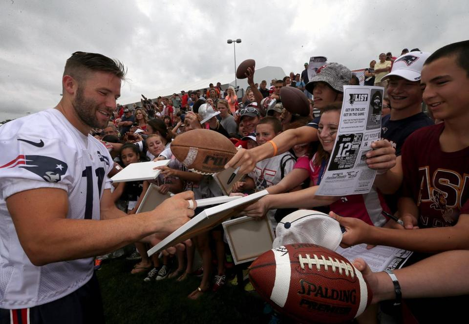 The versatility Julian Edelman has displayed in his NFL career, returning kicks, covering kicks, playing slot receiver, outside receiver, slot defender earned him a handsome four-year contract extension in March worth a reported $19 million, including a $17 million base ($8 million guaranteed). (Barry Chin/Globe Staff)