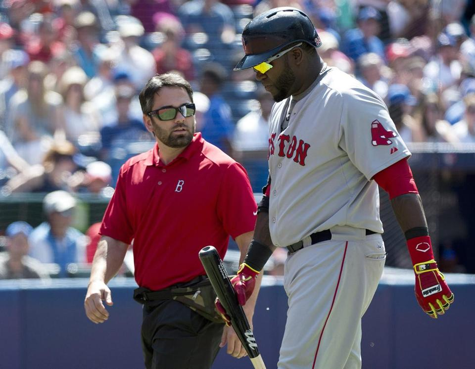David Ortiz left the field with a trainer after he was unable to finish his final at-bat Thursday. He is day-to-day with back spasms.