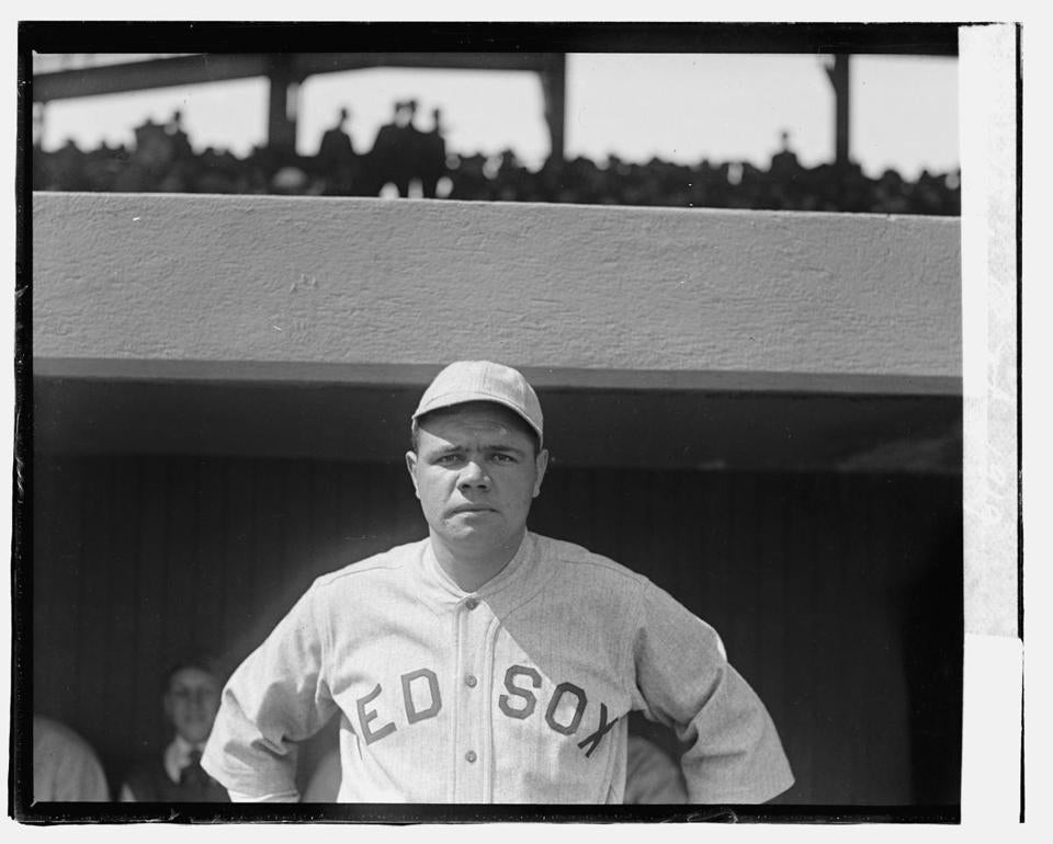 Babe Ruth in his Red Sox uniform. He played for Boston from 1914-19, before he was sold in the off-season to the New York Yankees.