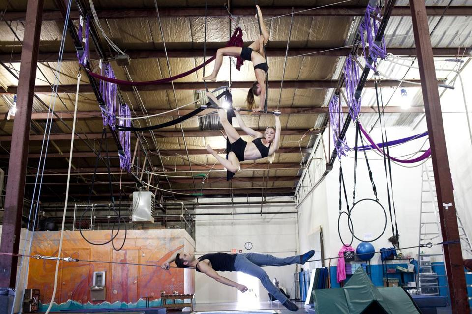 From top: Lindsay Culbert-Olds, Kia-Melinda Eastman, and Patrick Tobin of F.A.Q. Circus.
