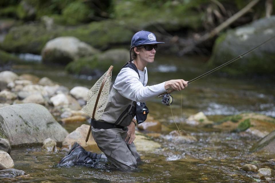 Cam Chioffi, here fishing in Furnace Brook for trout, is in Poland this week attempting to become the first US angler to repeat individual and team gold at the World Youth Fly Fishing Championship. (Stan Grossfeld/Globe staff)