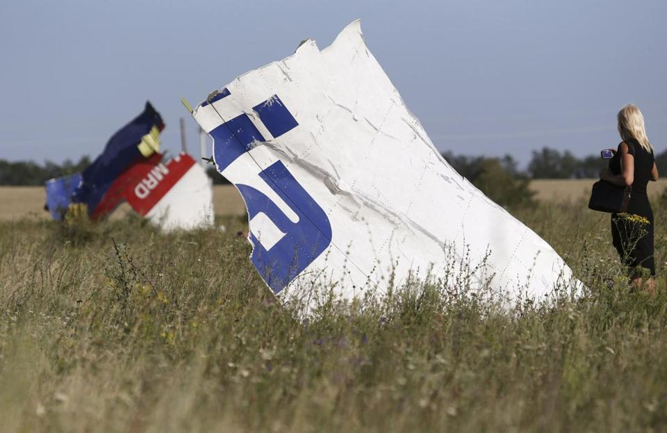 A woman took a photograph of wreckage at the crash site of Malaysia Airlines flight 17.