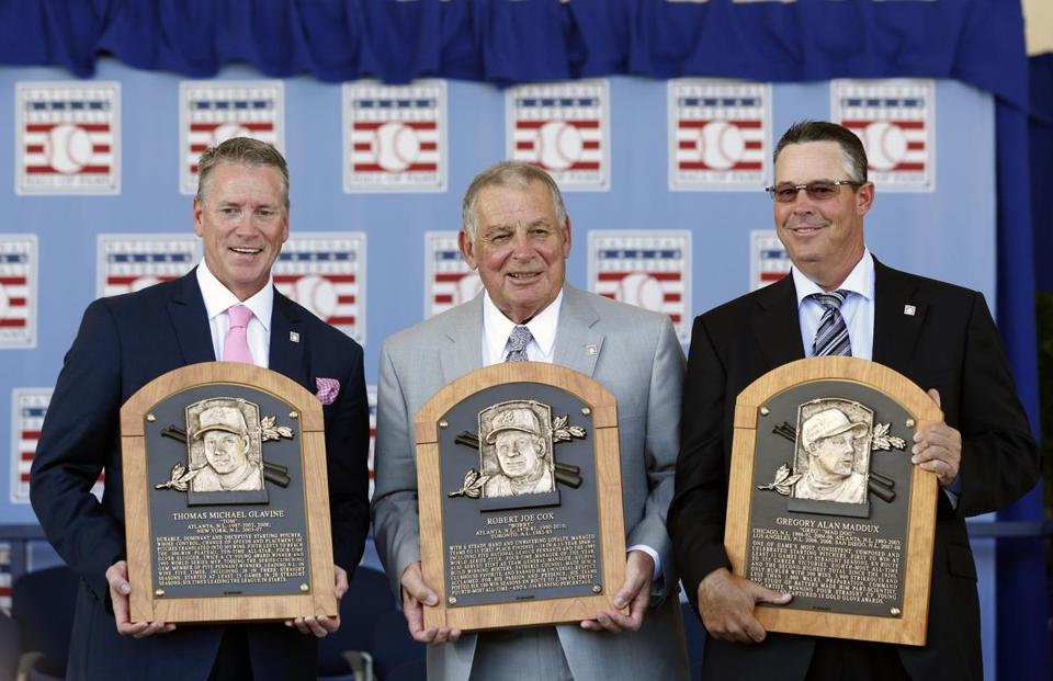 Tom Glavine(left)  was ushered into the Hall of Fame along with Braves teammate Greg Maddux (right) and their manager for many seasons in Atlanta, Bobby Cox.  (Mike Groll/Associated Press)