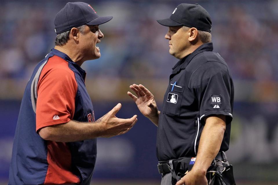 John Farrell can't even win an argument lately, losing this one with umpire Chad Fairchild in the first inning.